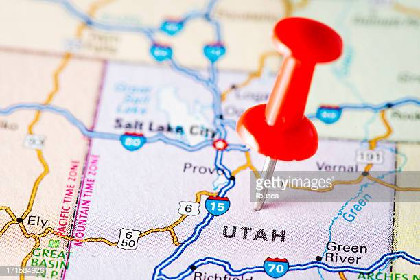 usa states on map: utah - utah stock pictures, royalty-free photos & images