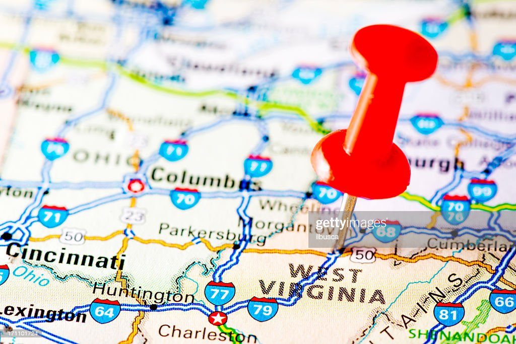 Usa States On Map West Virginia Stock Photo | Getty Images