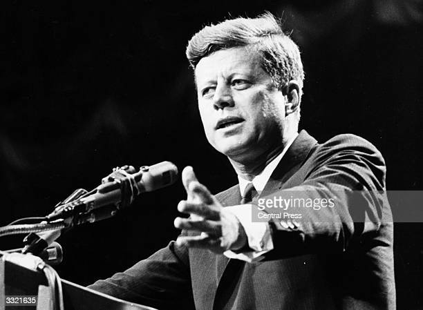 US statesman John F Kennedy 35th president of the USA making a speech