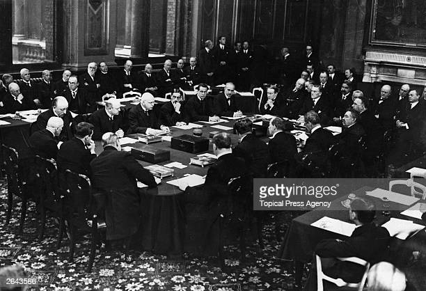 Statesmen from the countries of Europe signing the Locarno Treaty in the Grand Assembly Room at the Foreign Office in London British prime minister...