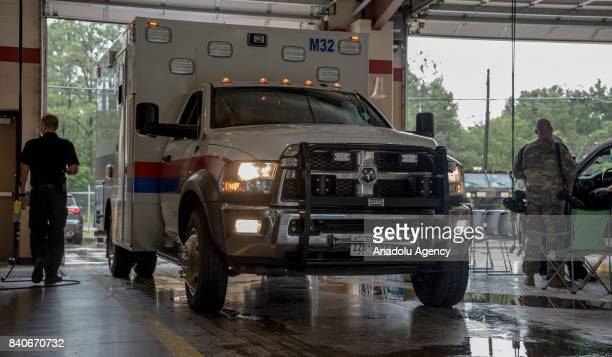 Station 30 head out in response to a 911 call during Hurricane Harvey in Humble TX United States on August 29 2017