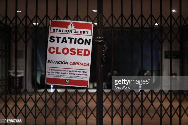 A Station Closed sign is hung at the gate of Federal Triangle Metro Station April 7 2020 in Washington DC Washington Metropolitan Area Transit...