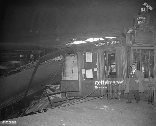 Station master's office at Union Station after PRR's Federal Express crashed into concourse The station master was out of his office placing train...