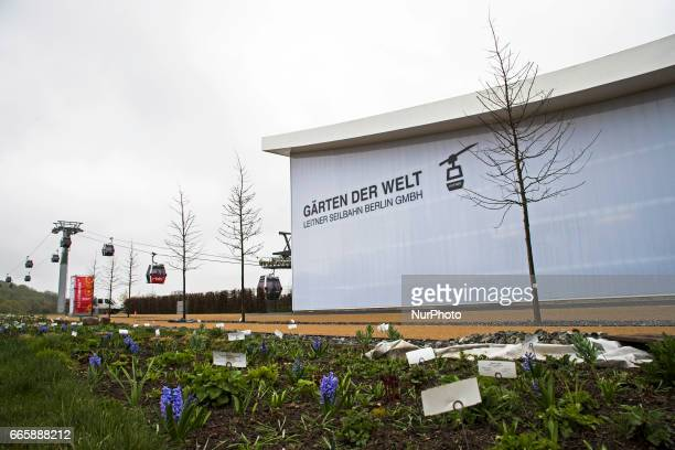 A station of the cable car is pictured during a press preview of the IGA 2017 in Berlin Germany on April 7 2017 Last arrangements are being done for...