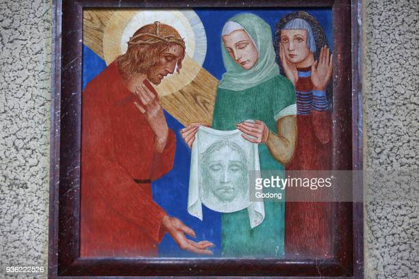 Station of the Cross painting in Sacred Heart church Gentilly Veronica and Jesus France