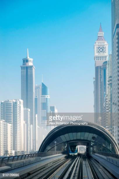 a station on the dubai metro network - underground station stock pictures, royalty-free photos & images