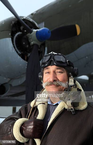 Station Warrant Officer Nick Dale from No 1 Air Mobility Wing based at RAF Lyneham poses in WWII era RAF dress sporting his Movember moustache in...