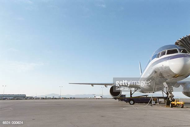 Stationary Airplane on Runway
