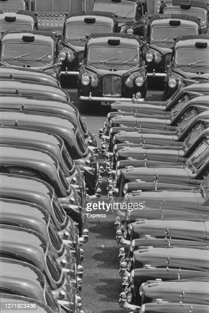 Stationary black cabs during a strike by London taxi drivers UK 14th June 1966
