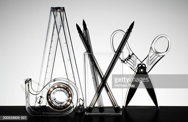 Stationary equipment including scissors, pens and rulers, close-up