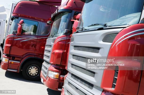 Stationary haulage trucks