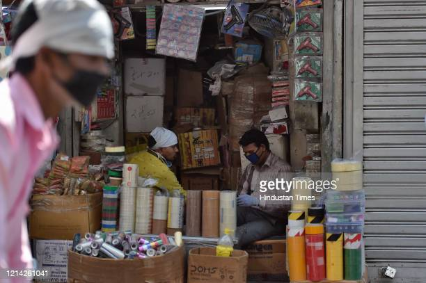 Stationary shops open after government eased lockdown restriction at Nai Sadak on May 20 2020 in New Delhi India