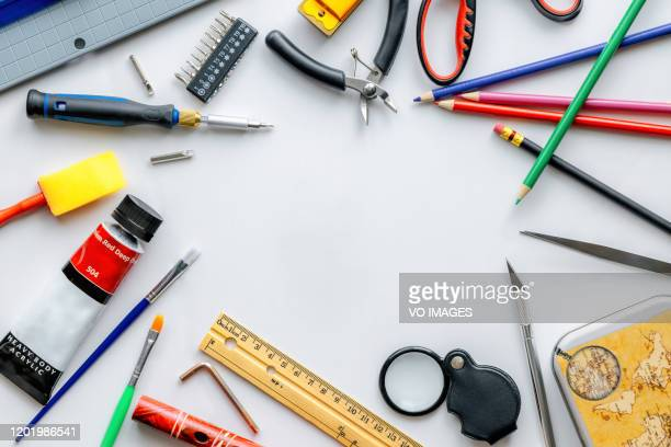 stationery items on a white background - pencil case stock pictures, royalty-free photos & images
