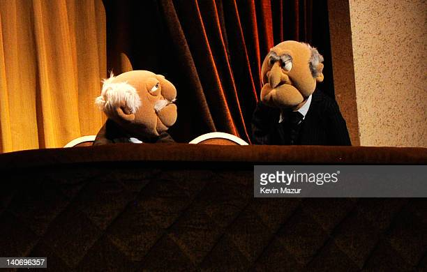 Statler and Waldorf speak on stage during Amnesty International's Secret Policeman's Ball at Radio City Music Hall on March 4 2012 in New York City