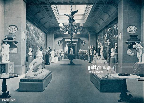 'Statuary Gallery, Chatsworth House', c1903. The first house at Chatsworth near Bakewell in Derbyshire was built by Bess of Hardwick and her second...