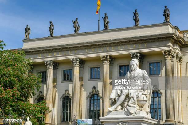 Statue, Alexander von Humboldt, main building, Humboldt's university, under the lime-trees, middle, Berlin, Germany, Hauptgebaude,...