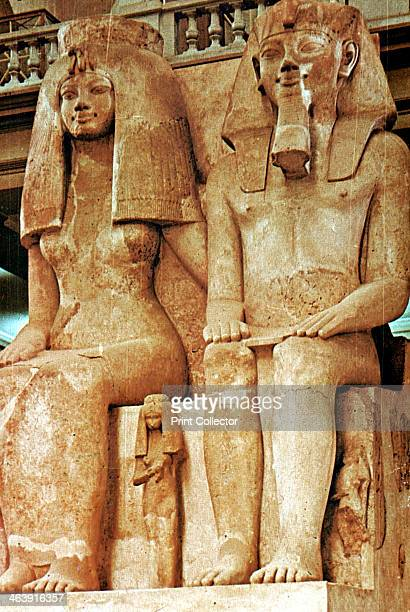 Statue Amenophis III Egypt18th Dynasty Amenophis III and female figure Egyptian Museum Cairo