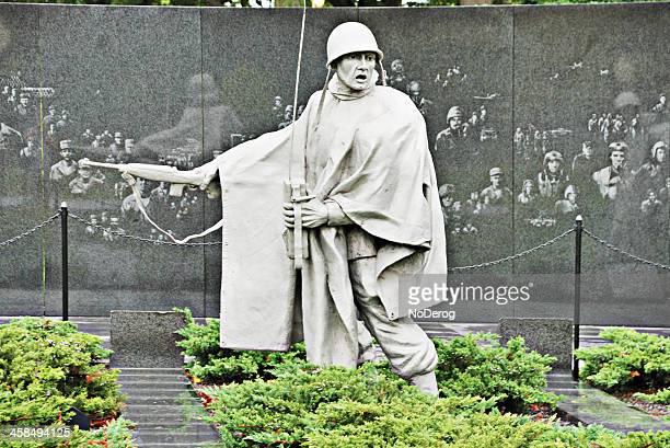 statue at korean war veterans memorial in washington - korean war memorial stock pictures, royalty-free photos & images