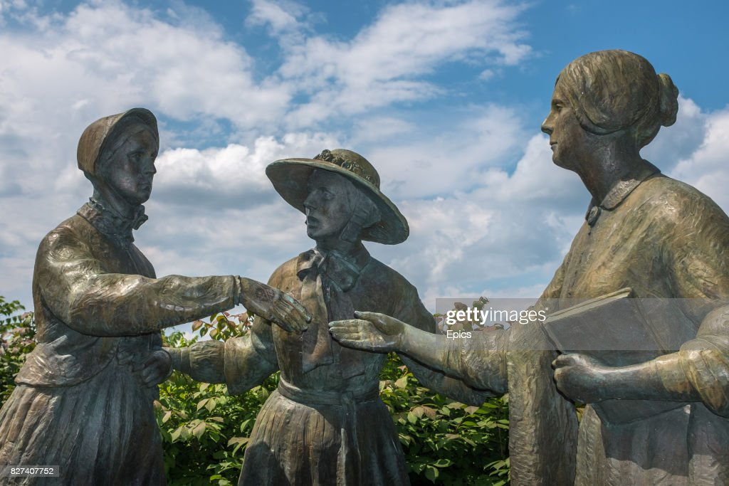 A statue at Seneca Falls depicting the first meeting of feminist activists Susan B. Anthony and Elizabeth Cady Stanton after they attended an anti slavery lecture by William Lloyd Garrison on May 12, 1851 - left to right - Susan B. Anthony, Amelia Bloomer and Elizabeth Cady Stanton. The statue is by internationally renowned sculptor and artist A.E. Ted Aub.