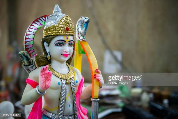 Statue carved from a stone for aesthetic beauty and divinity seen at the workshop. Lord Rama is one of the most adored god and hero of the epic '...