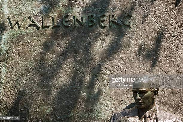 Statue commemorating Raoul Wallenberg Swedish diplomat who saved 100000 Hungarian Jews in WWII by issuing them with Swedish Passports