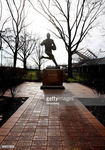 A statue commemorating Rutgers' 64 victory over Princeton in the firstever college football game in 1869 stands outside Rutgers Stadium at Rutgers...