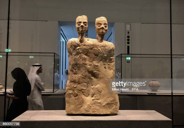 A statue dating back to 6500BC from Jordan at the Louvre Abu Dhabi on December 10 2017 in Abu Dhabi United Arab Emirates
