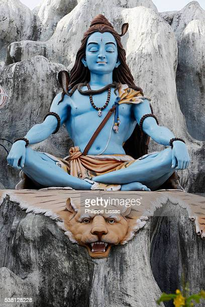 statue depicting shiva sitting on a tiger skin and meditating in the himalayas - shiva stock pictures, royalty-free photos & images