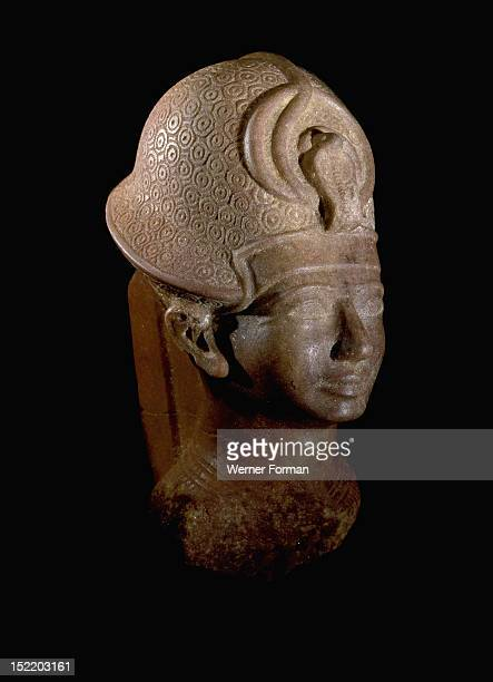 Statue depicting the Pharaoh Amenhotep III wearing the Blue Crown Ancient Egypt Ancient Egyptian New Kingdom 18th Dynasty 1386 1349 BC