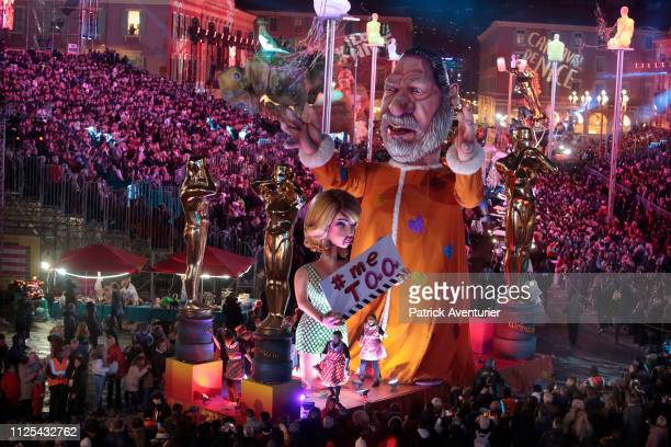 A statue depicting US producer Harvey Weinstein parade during the 135th Nice Carnival on February 16 2019 in Nice France The Carnival takes place...
