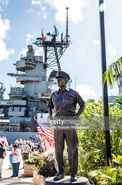 Statue Fleet Admiral Chester Nimitz by USS Missouri Memorial the Mighty Mo berthed at Pearl Harbor Hawaii Island of Oahu September 2 commemorates the...