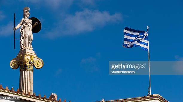 Statue from the Academy in Athens, Greece - with flag