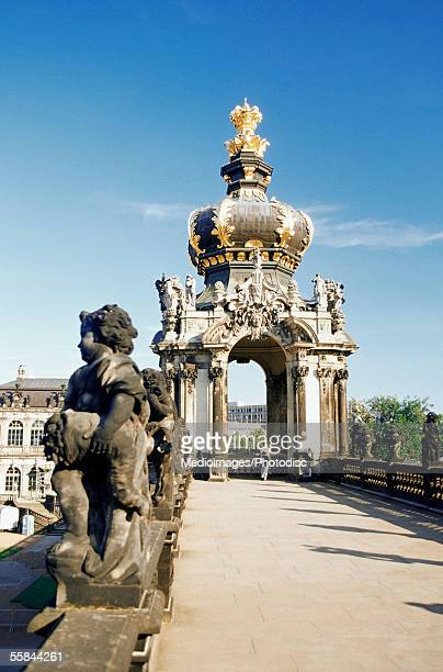 Statue in front of Crown Gate, Zwinger Palace, Dresden, Germany