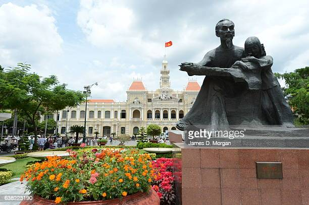 Statue in front of Ho Chi Minh City Hall on sunny day on September 6th 2012 in Ho Chi Minh City Vietnam