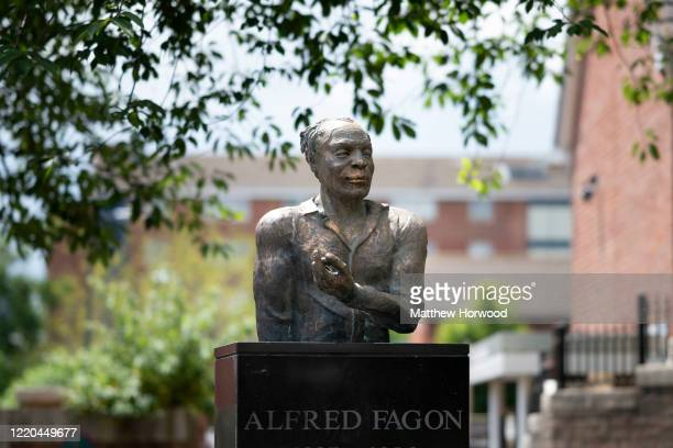 Statue in honour of black playwright and actor Alfred Fagon, the first black person to be honoured with a statue in Bristol, which was covered in...