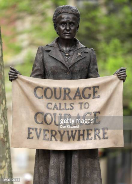A statue in honour of the first female Suffragist Millicent Fawcett is unveiled during a ceremony in Parliament Square on April 24 2018 in London...
