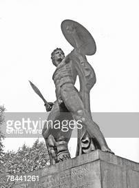 A statue in Hyde Park depicting David after his victory over Goliath which is dedicated to Arthur Wellesley The 1st Duke of Wellington 6th July 1949