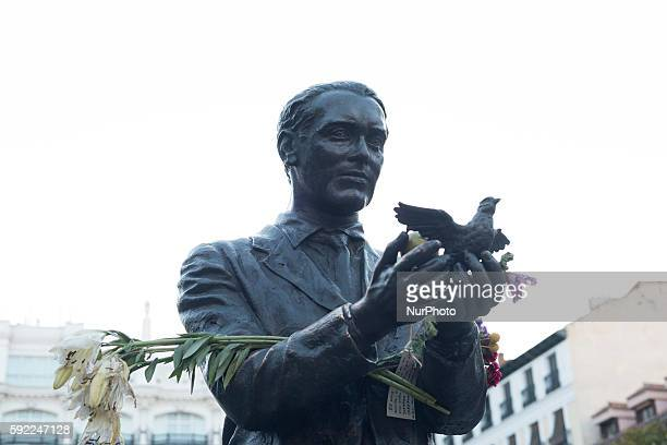 A statue in memory of Spanish poet Federico Garcia Lorca stands on Plaza Santa Ana in central Madrid on August 18 2016 An Argentine judge known for...