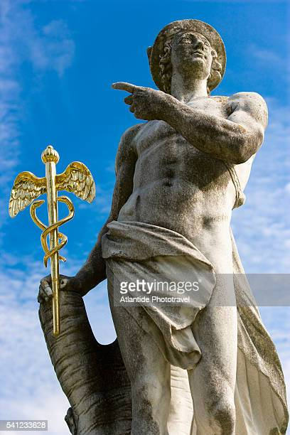 statue in the garden of schloss nymphenburg - hermes stock pictures, royalty-free photos & images