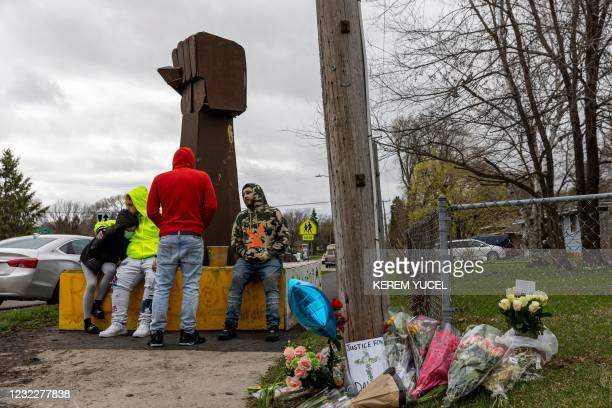 Statue in the shape of a closed fist made in the name of George Floyd, was placed where Daunte Wright was shot and killed by a police officer in...