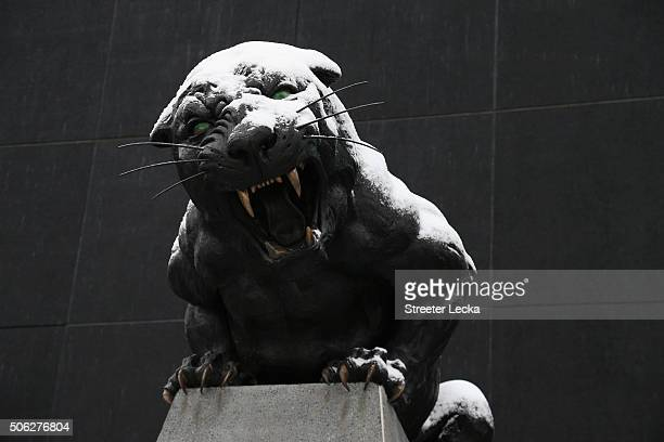 A statue in the snow at the home stadium of the Carolina Panthers at Bank of America Stadium on January 22 2016 in Charlotte North Carolina A major...