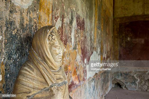 A statue in the Stabian Baths Palaestra in Pompeii Italy is probably dating back to the 5th century BC