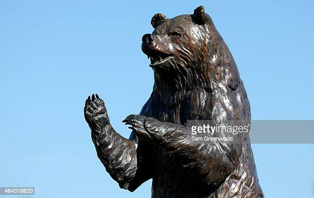 A statue indicates the entrance to the 'Bear Trap' as seen on the 15th hole during a practice round for The Honda Classic at PGA National Resort and...