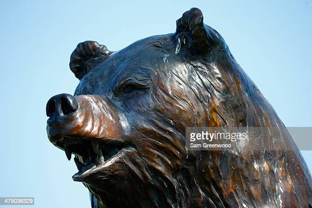 A statue indicates the entrance to the 'Bear Trap' as seen on the 15th hole during the proam round prior to The Honda Classic at PGA National Resort...