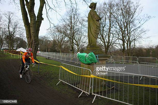 A statue is padded to protect competitors who lose control at the 2013 National CycloCross Championships in Peel Park on January 12 2013 in Bradford...