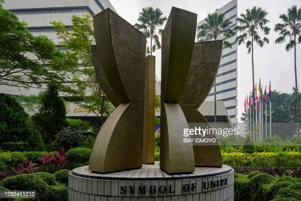 Statue is seen in the courtyard of the Association of Southeast Asian Nations secretariat building in Jakarta on April 20 ahead of the ASEAN Summit...