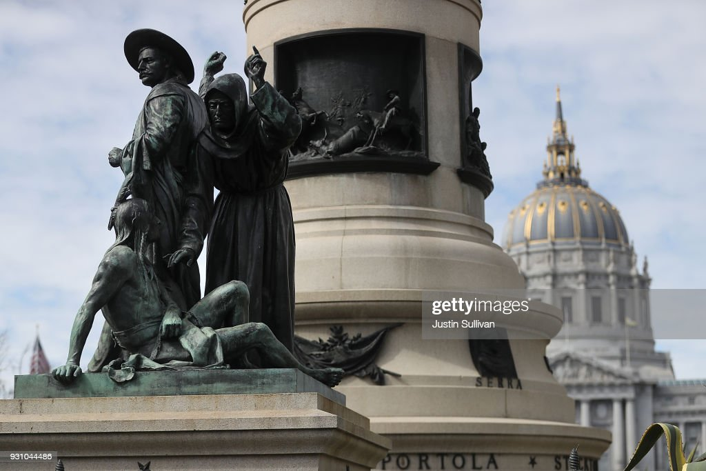 A statue known as 'Early Days' that depicts a Native American at the feet of a Catholic missionary and Spanish cowboy stands on Fulton Street as part of the Pioneer Monument on March 12, 2018 in San Francisco, California. The San Francisco arts commission voted unanimously to take down a controversial statue that has been called racist by critics and potrays Native Americans as inferior.