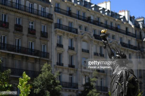 """Statue """"Liberty enlightening the world"""", model in bronzed plaster, produced and signed by Bartholdi is seen outside the Conservatoire National des..."""