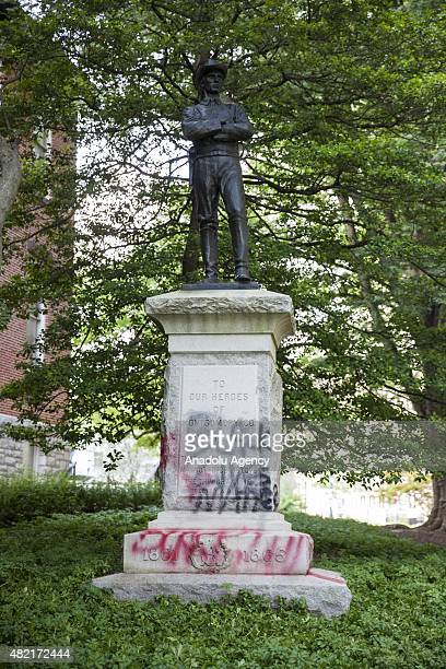 A statue memorializing Confederate Soldiers from the American Civil War was defaced over night with graffiti saying 'Black Lives Matter' outside of...