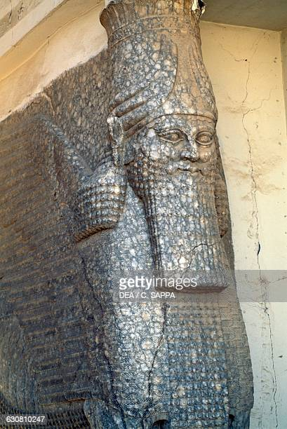 Statue next to the Nergal door Nineveh site was partially destroyed in 2015 Iraq Assyrian civilisation 8th7th century BC
